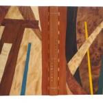 BORDES Xavier, Levées d'ombre et de lumière, Illustré par Rougemont, Les Cent Une, Paris 1992,  78/135 , 31.3 x 24 x 3.3 cm, Reliure bois doucier, décor géométrique par superposition de divers bois naturels ou teintés. (Reliure 2012)  METTRE LE LIEN DES CENT UNE
